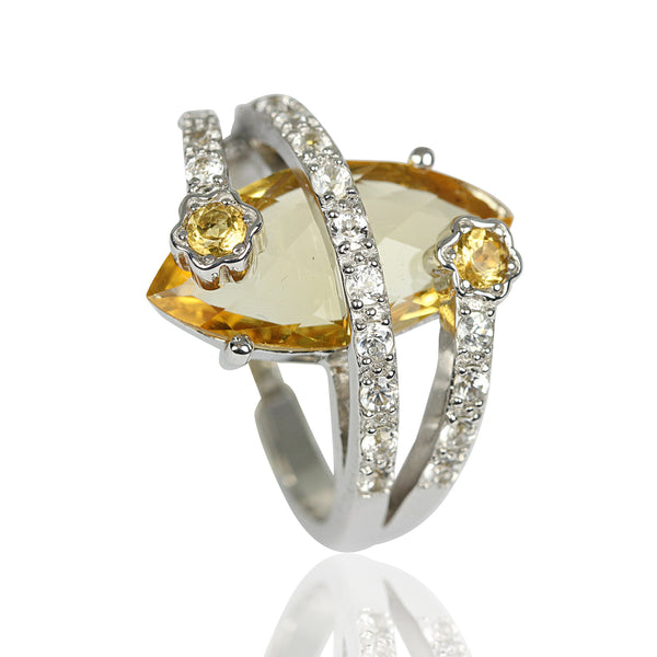 Platinum Plated SS Marquise Citrine Ring