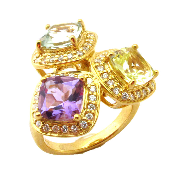Plated Ss Amethyst, Blue Topaz, Citrine Ring