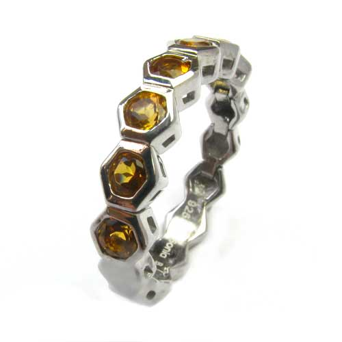 Plated SS Citrine Stackable Flex Ring