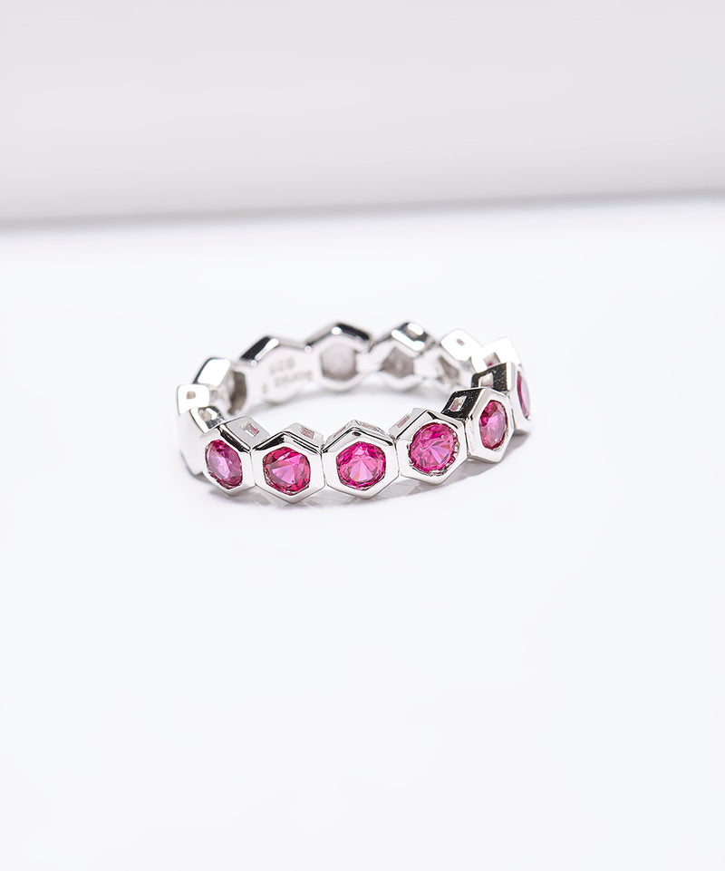 Plated SS & Cz Stackable Honeycomb Ring
