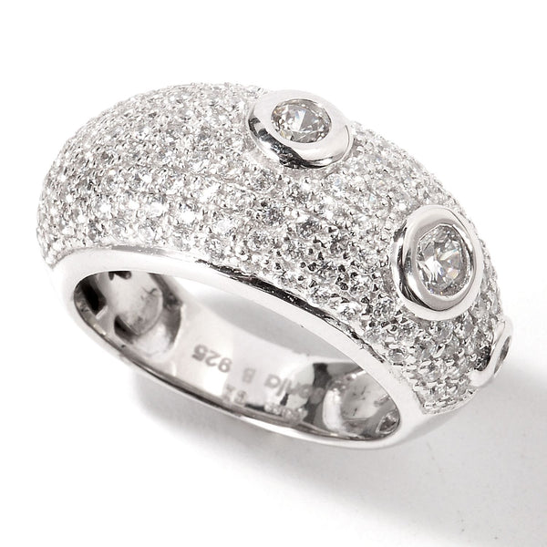 Plated SS & Cz Pave & Bezel Ring