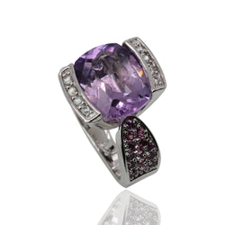 Plated SS Amethyst, White Zircon Ring