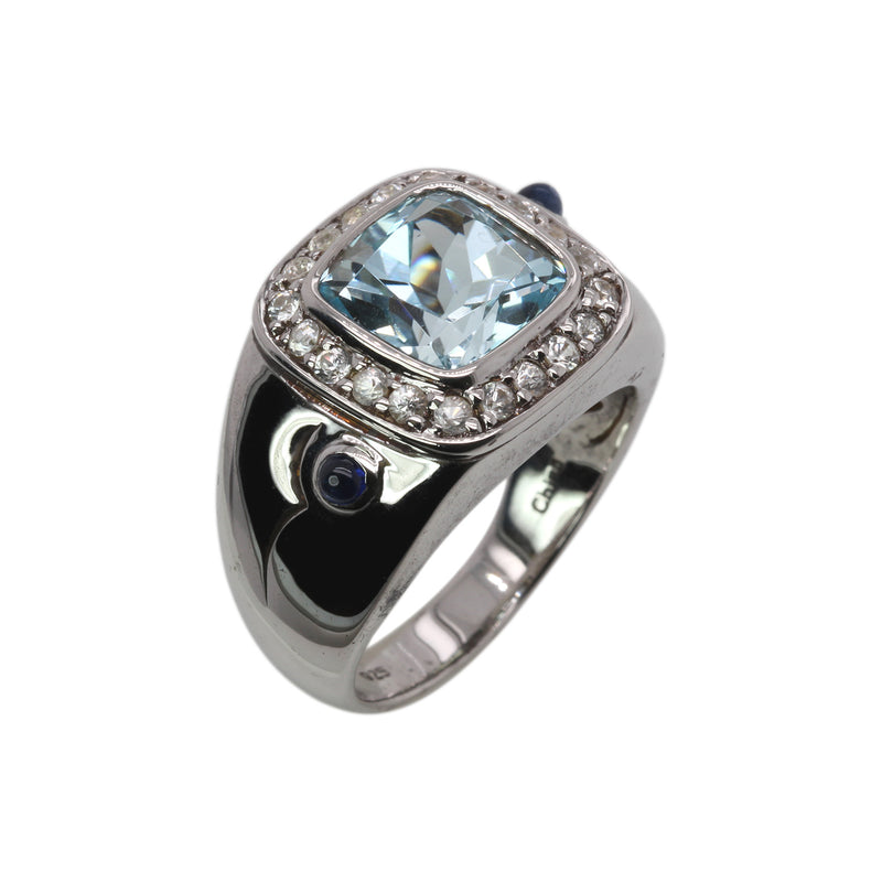 Plated SS Blue Topaz, Blue Sapphire Ring