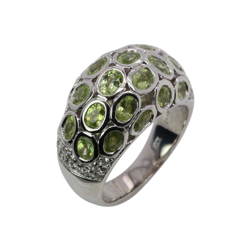 SS Domed Peridot Ring