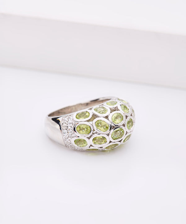 Plated SS Domed Peridot Ring