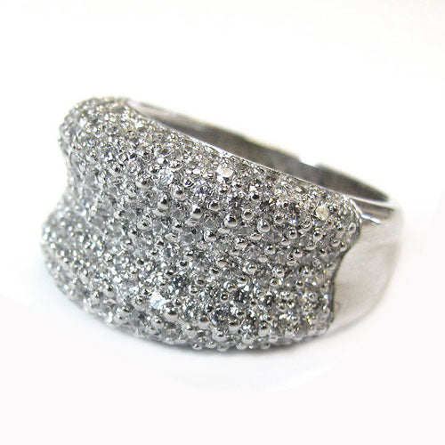SS & CZ Wave Dome Pave Ring