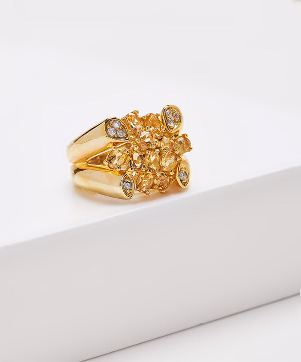 Plated SS Citrine & White Zircon Ring