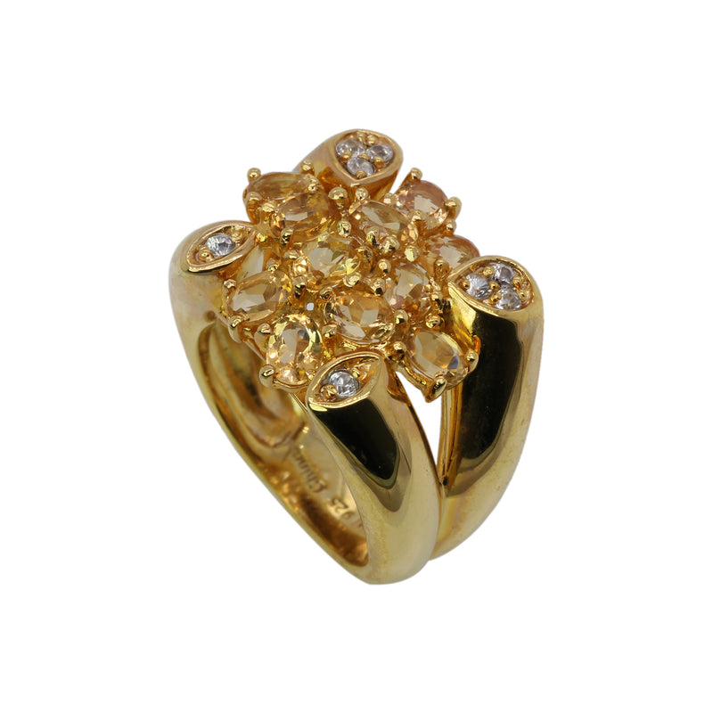 SS Citrine & White Zircon Ring