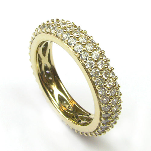 Plated SS & Cz Eternity Pave Ring