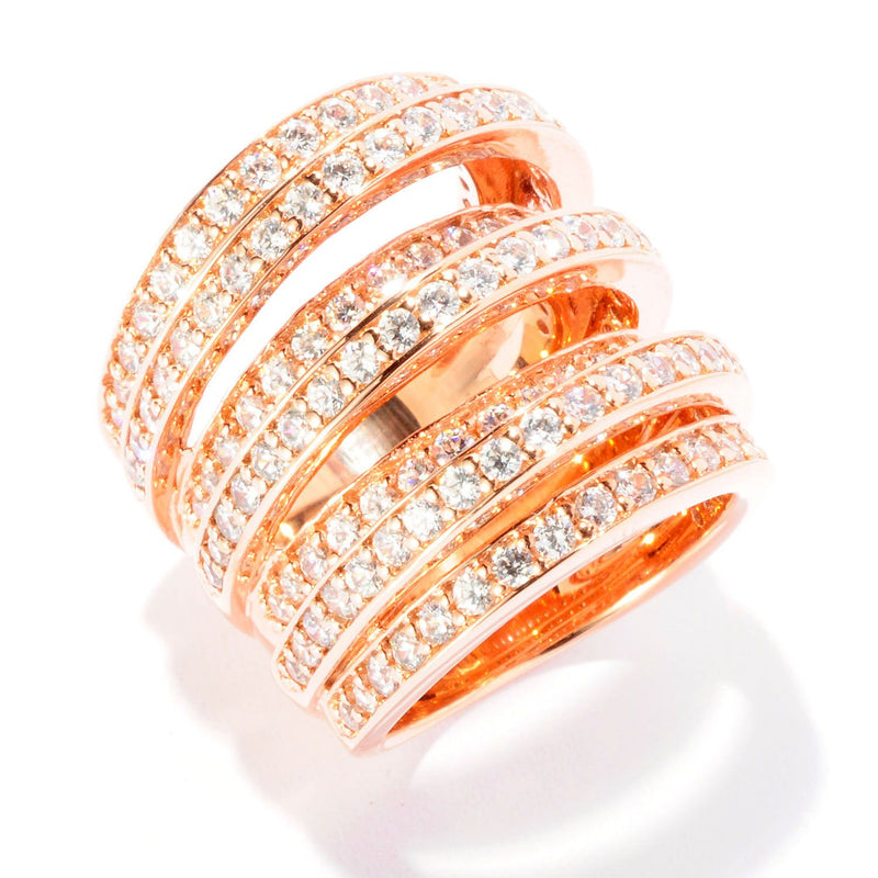 SS & CZ Multi Band Height Ring