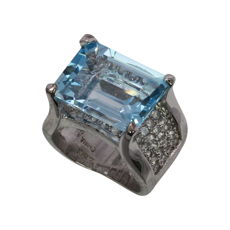 SS Blue Topaz Cocktail Ring