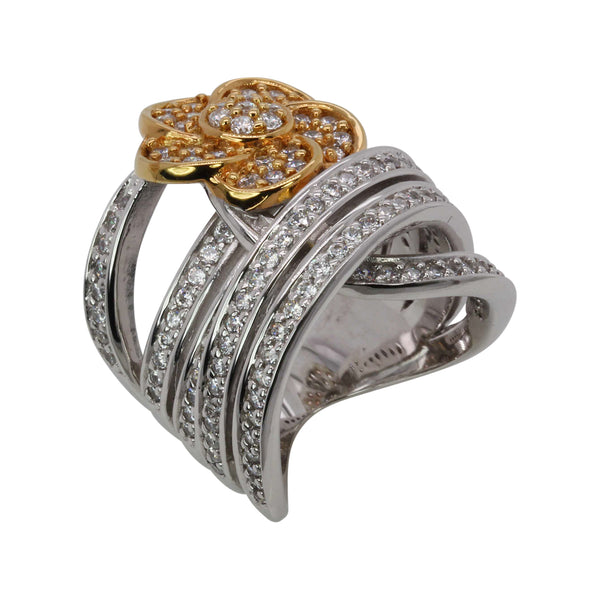 SS Two Tone CZ Floral Station & Wrap Band Ring