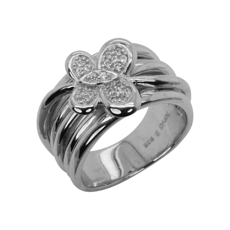 SS & White Zircon Butterfly Ring