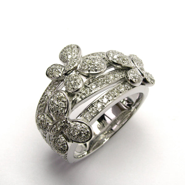 Plated SS & Cz Pave Butterfly Ring