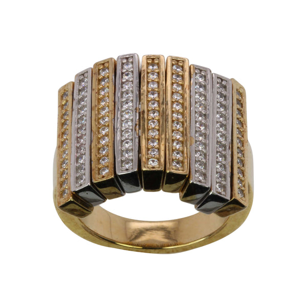 SS & CZ Two Tone Flex Long Bar Ring