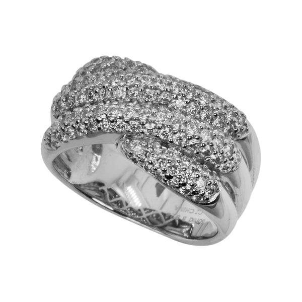 SS & CZ Delicate Tri Row Knot Ring