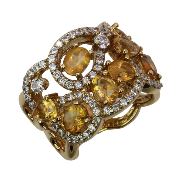 SS Citrine & CZ Scroll Swirl Ring