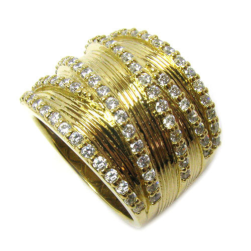 Plated SS Citrine & Cz Textured Cris Ring