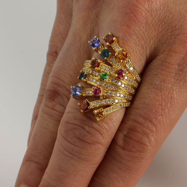 Plated SS Multi-gemstone & Cz Celebration Ring
