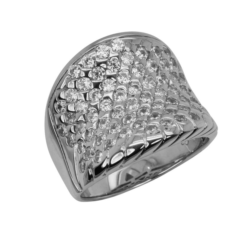 SS & CZ Round Cut Concave Ring