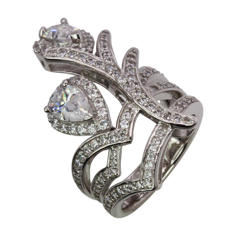 SS & CZ Tear Drop Flower Ring