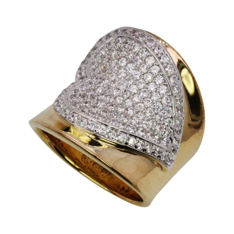 SS Two Toned Pave CZ Heart Ring