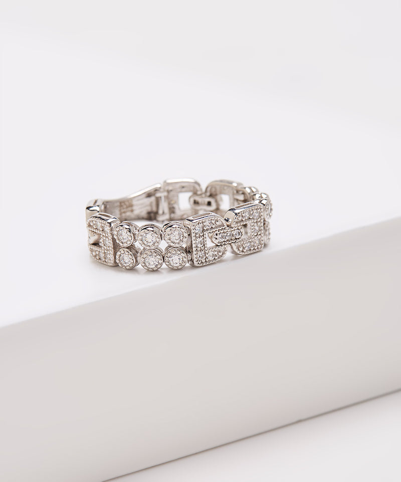 SS & CZ Art Deco Dream Fit Ring
