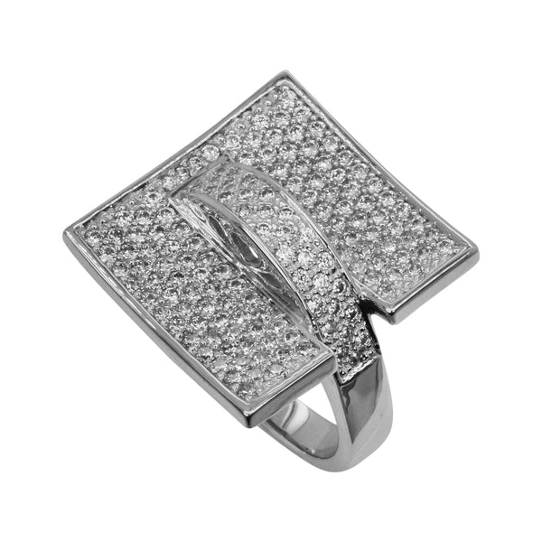 SS & CZ Impressionist Square Top Ring