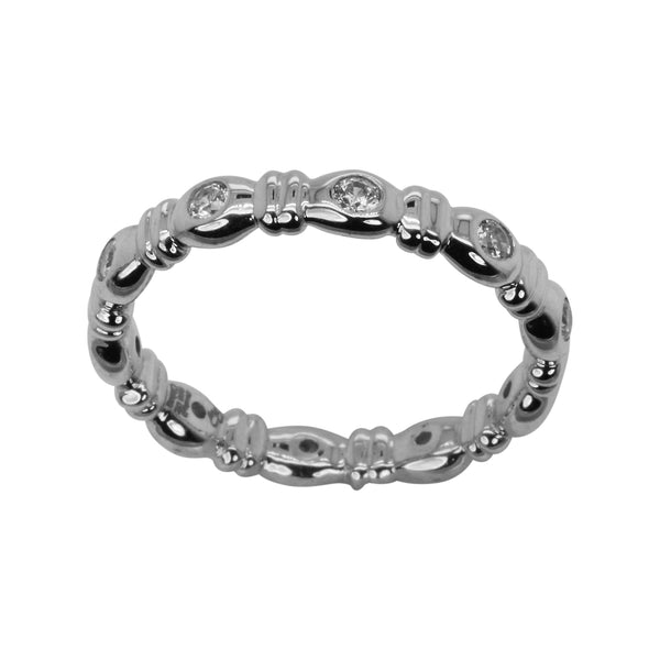 SS & CZ Rounded Bezel Stack Band Ring