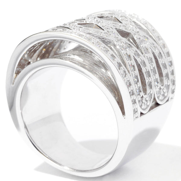 Plated SS & Cz Criss Cross Ring