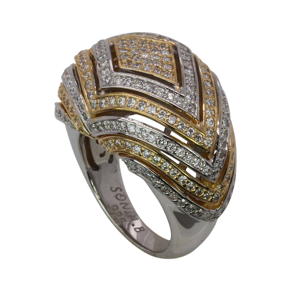 SS Two Tone CZ Ribbon Ring