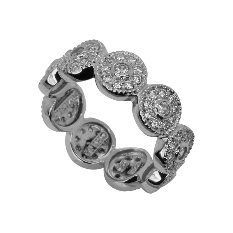 SS & CZ Circle Halo Eternity Ring