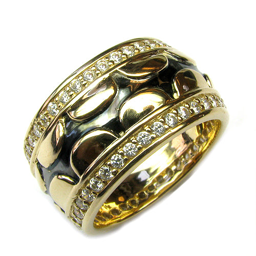 Black Enamel & Plated SS & Cz Ring