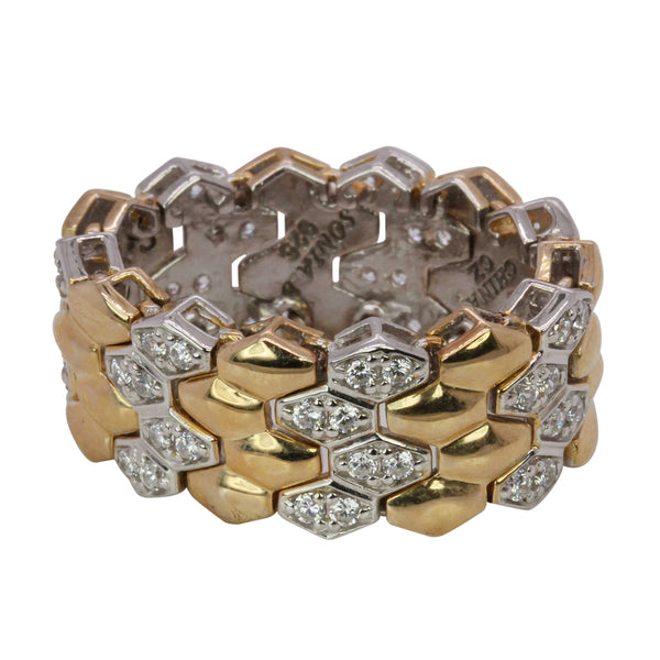 SS & CZ Two Tone Flex Link Ring