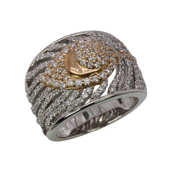 SS & CZ Two Tone Peacock Feather Ring