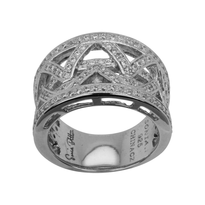 SS & Cz Zig Zag Concave Ring