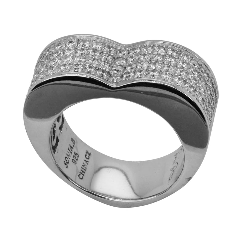 SS & CZ Pave High Dome Heart Ring