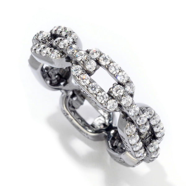 Platinum Plated SS & CZ Eternity Chain Link Ring