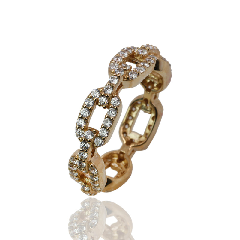 SS & CZ Eternity Chain Link Ring