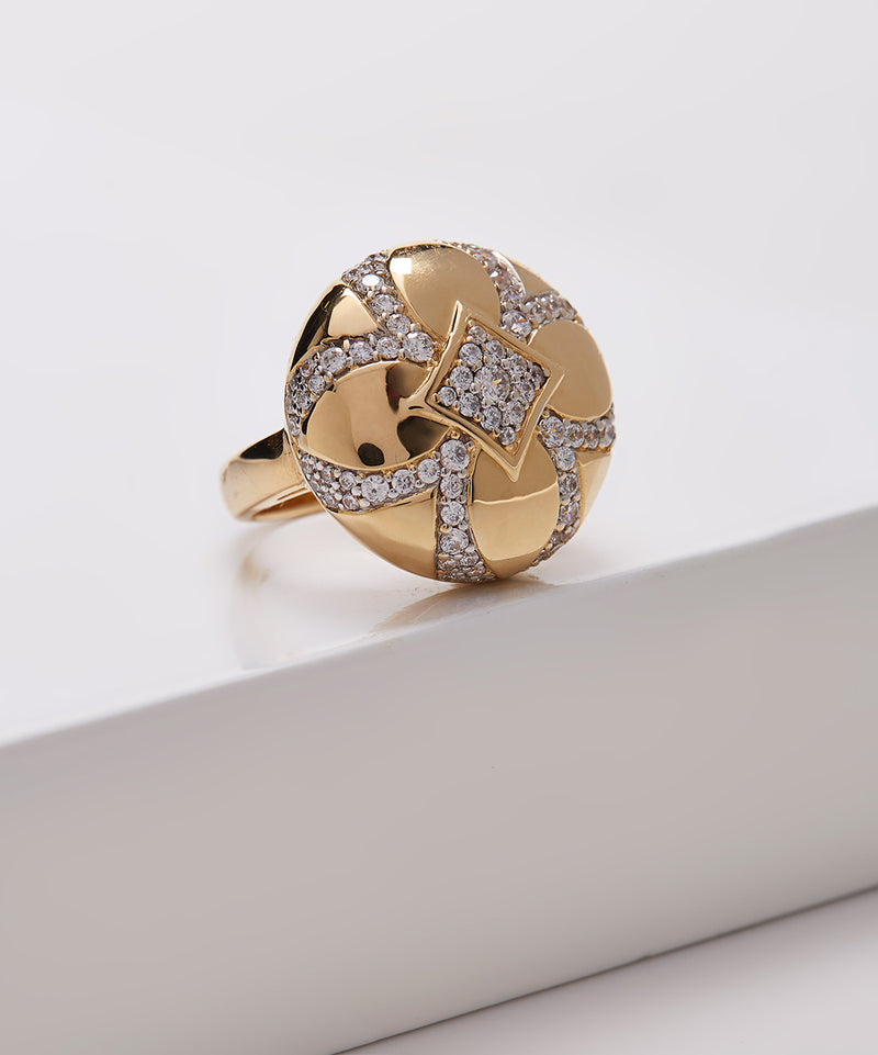 Plated SS & Cz Pave & Polished Round Ring