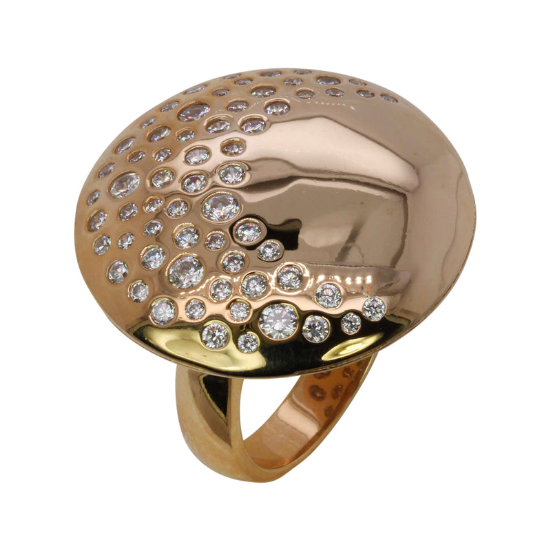 Plated SS & Cz Burnished Set Moon Disk Ring