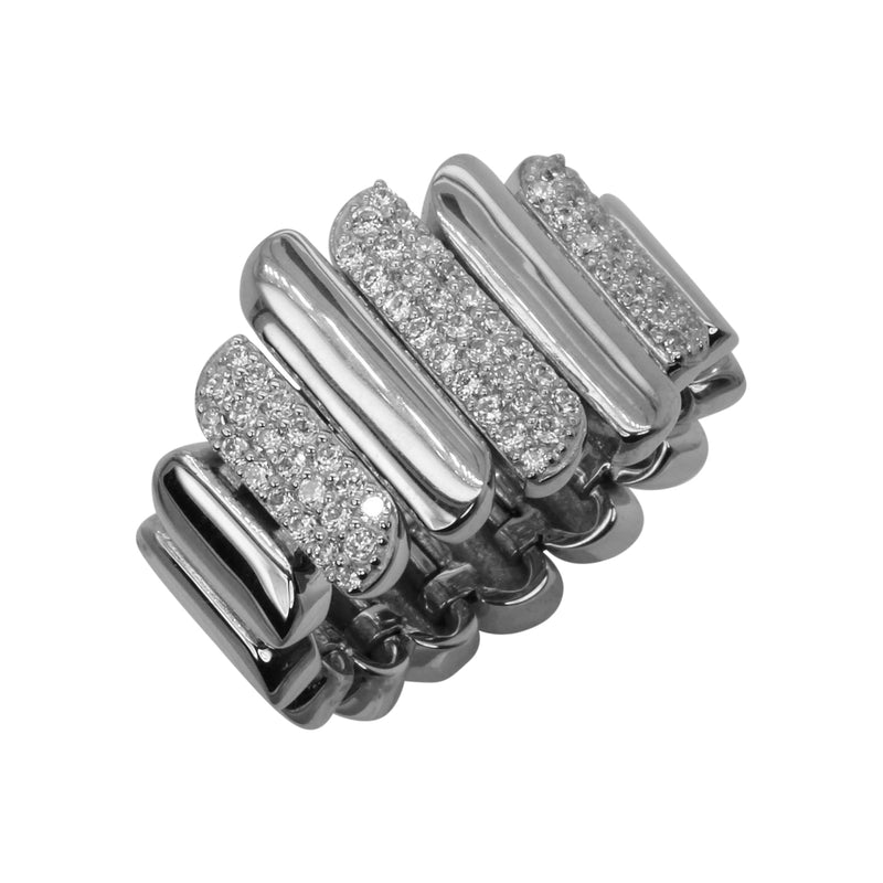 SS & CZ Pave Stagger Bar Flex Ring