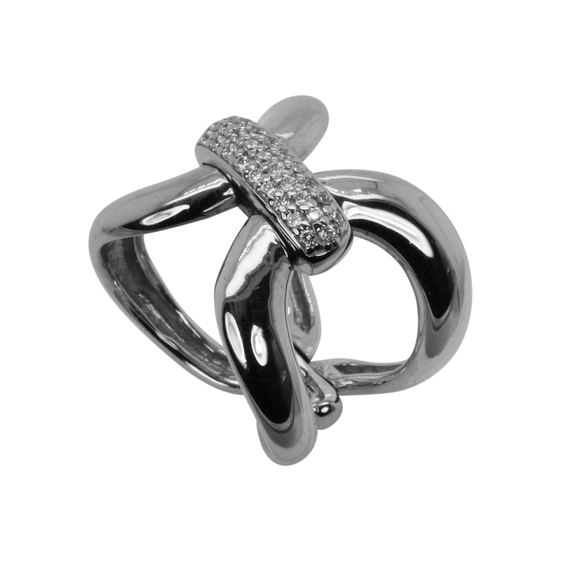 Plated SS & Cz Pave Open Link Flex Ring