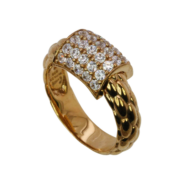 SS & CZ Braid Texture Pop Up Ring