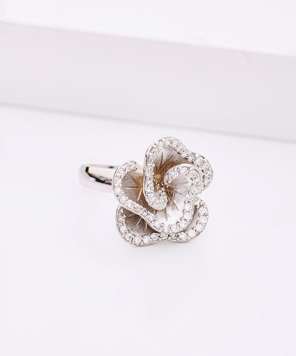 Plated SS & Cz Satin Flower Ring