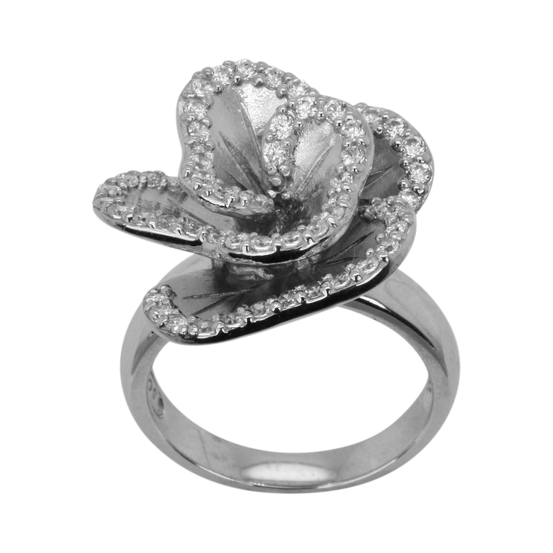SS & CZ Satin Flower Ring