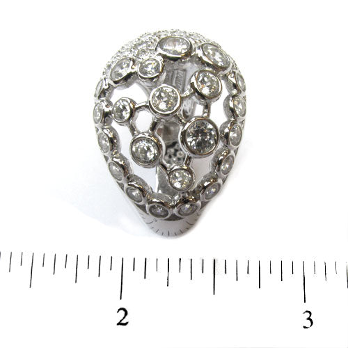 Plated SS & Cz Pave Bezel Dome Ring
