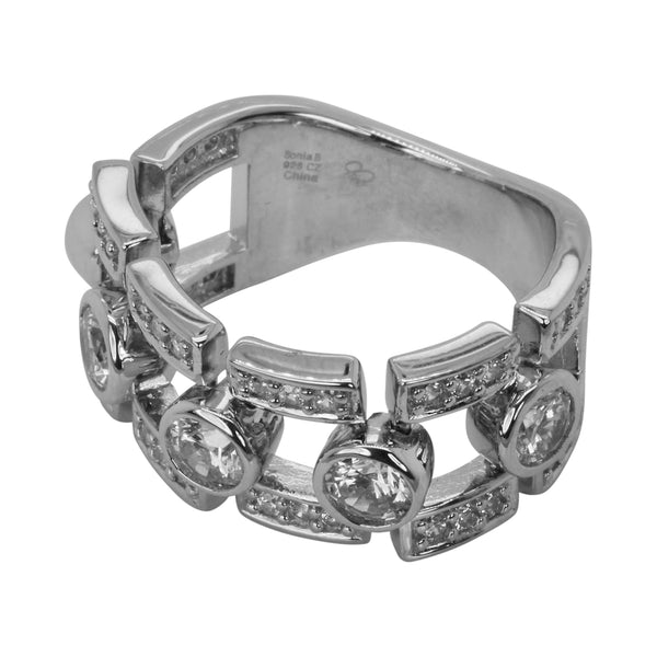 SS & Cz Bezel Set Dream Fit Flex Ring