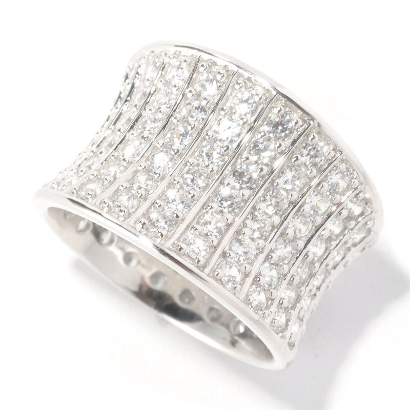 Plated SS & Cz Round Cut Concave Ring
