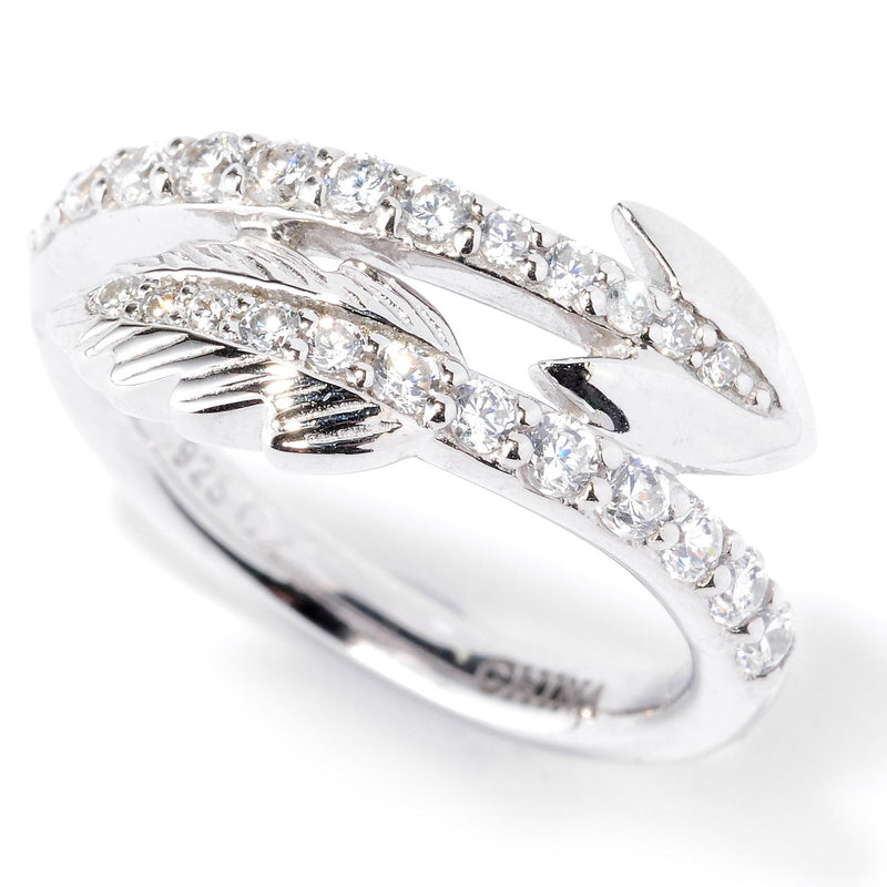 Plated SS & Cz Round Cut Arrow Ring